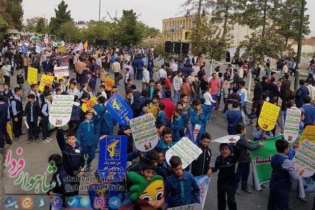 Photo of حماسه راهپیمایی ۱۳ آبان در دیار شاهوار برگزار شد / نقش مشت های گره کرده مردم بر گونه استکبار